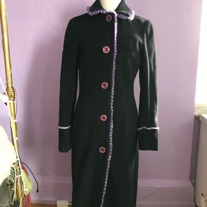 Tocca full length coat with purple lining